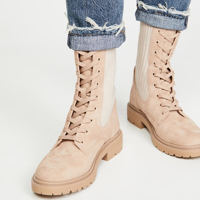 Sam Edelman's comfy Lydell combat boots are worn with Agolde's signature Riley straight-leg crop jeans