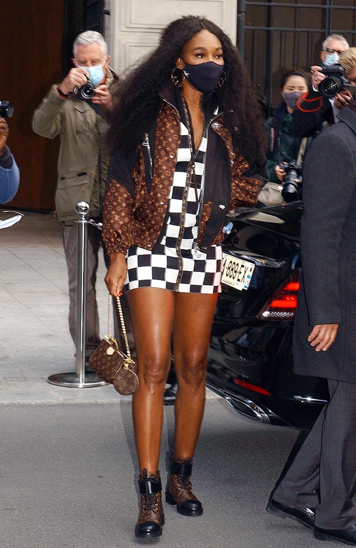 Venus Williams showcases her figure in a Louis Vuitton Damier dress and jacket