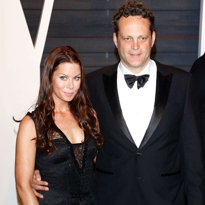 Actor Vince Vaughn (R) and his wife Kyla Weber arrive at the 2016 Vanity Fair Oscar Party