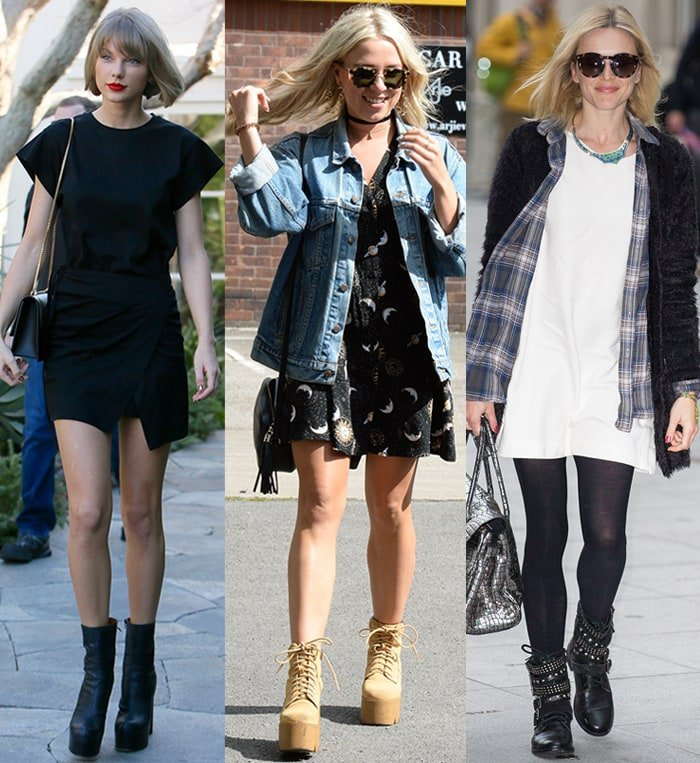 Taylor Swift, Gabby Allen, and Fearne Cotton wear minimalist mini dresses with chunky ankle boots