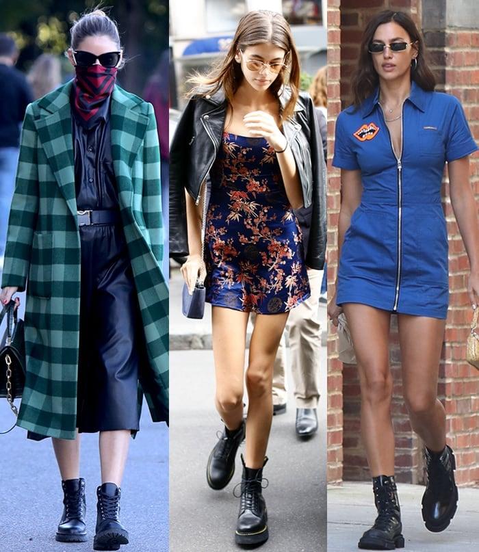 Olivia Palermo, Kaia Gerber, and Irina Shayk toughen up their feminine dresses with black combat boots