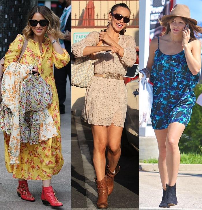 Rachel Stevens, Karina Smirnoff, and Katharine McPhee go western in printed dresses and western boots