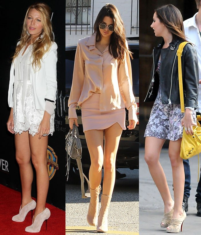 Blake Lively, Kendall Jenner, and Ashley Tisdale pair their tiny dresses with leg-lengthening nude ankle boots