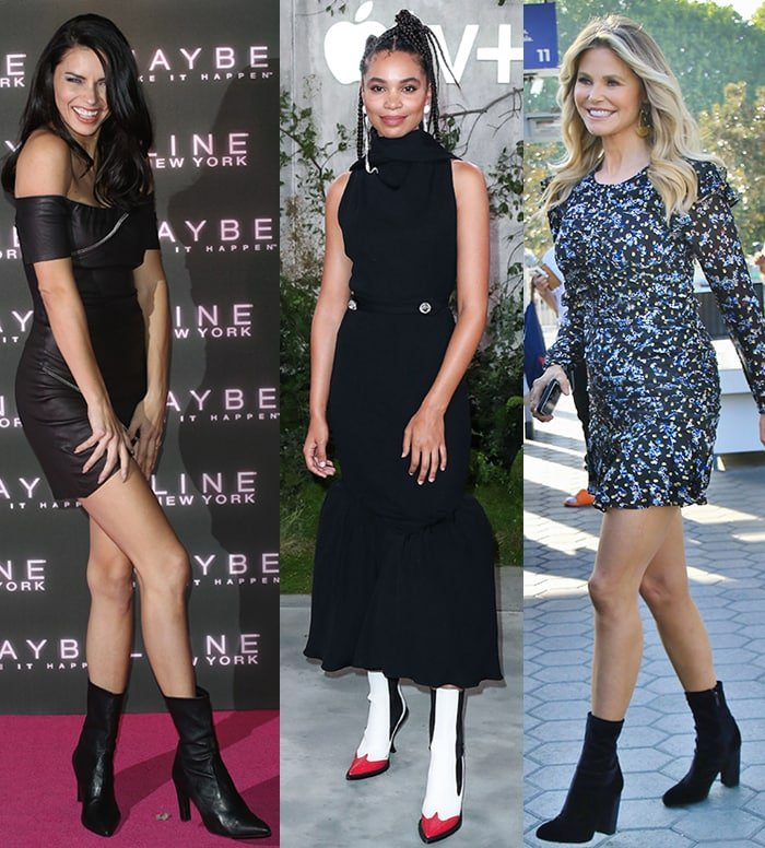 Adriana Lima, Nesta Cooper, and Christie Brinkley team their dresses with tall ankle boots