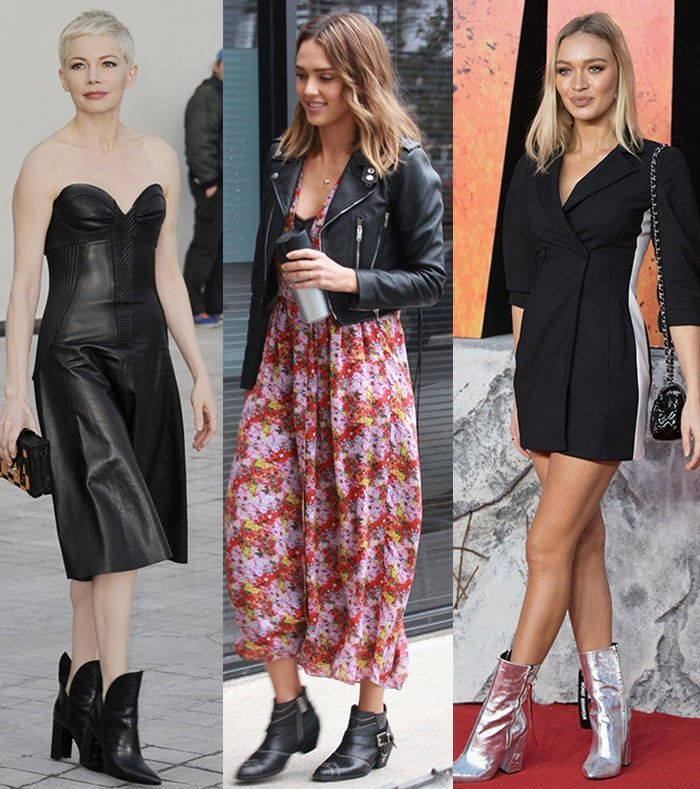 Michelle Williams, Jessica Alba, and Roxy Horner wear dresses with wide ankle boots