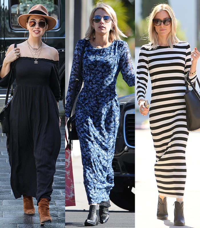 Myleene Klass, Emma Roberts, and Kristin Cavallari in maxi dresses and ankle boots