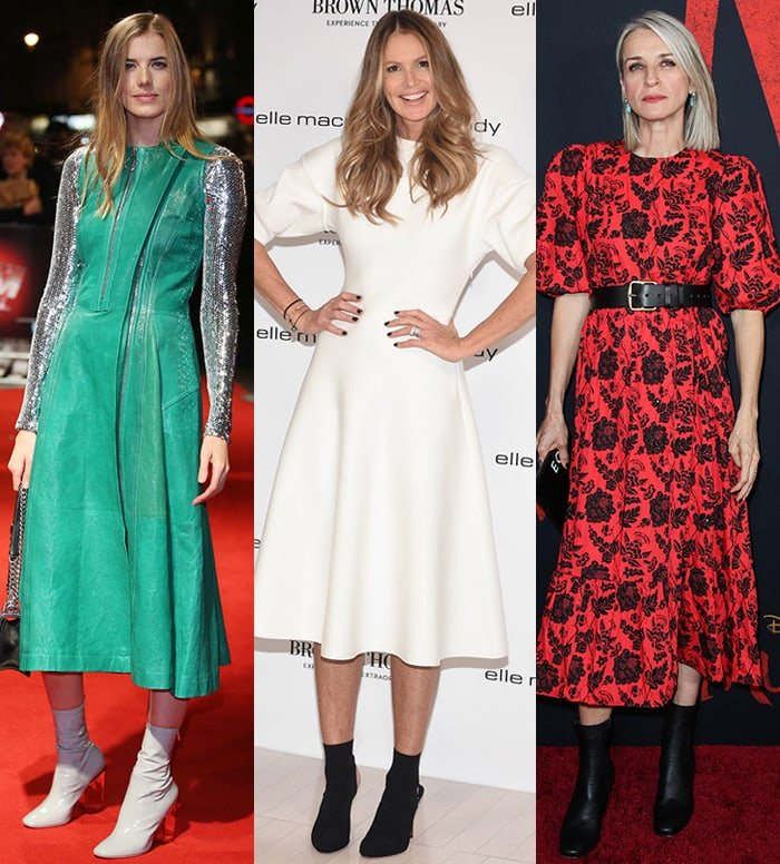 Agyness Deyn, Elle Macpherson, and Ever Carradine wear midi dresses with ankle boots