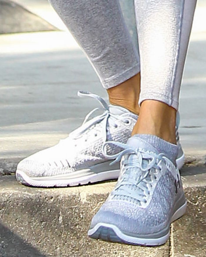 Alessandra Ambrosio completes her gym look with Under Armour shoes