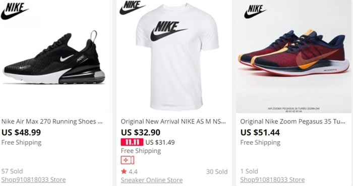 Nike Pegasus and Air Max 270 shoes are selling for around $50 on AliExpress