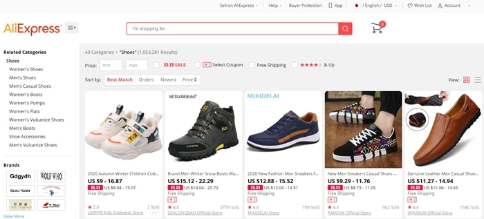 Many shoes sold on AliExpress are counterfeits and fakes