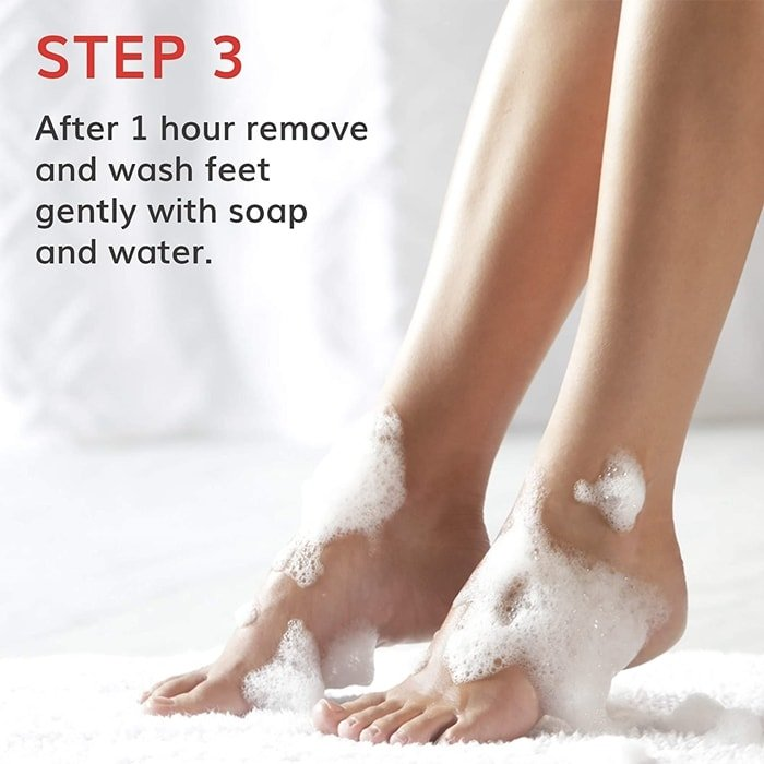 After an hour, remove the booties and rinse your feet with water