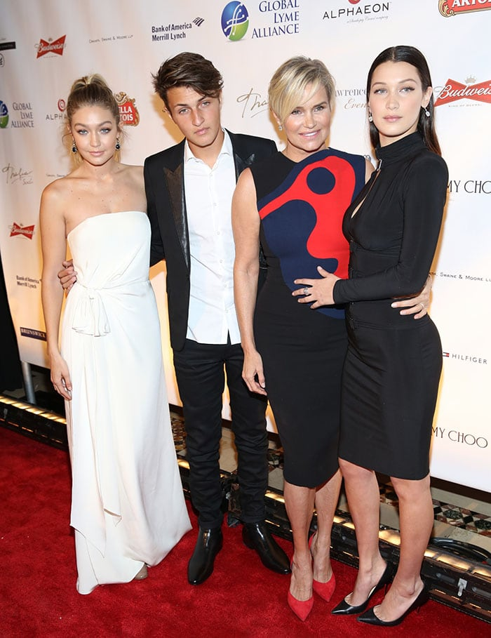Gigi Hadid, Anwar Hadid, their mother Yolanda Foster, and Bella Hadid