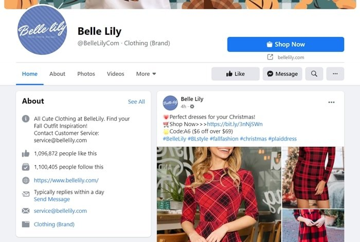 Bellelily has a popular Facebook page with more than 1 million likes