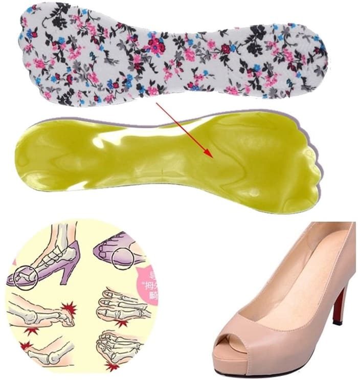 The high heel gel insoles reduce foot pain by evenly distributing the pressure on the forefoot