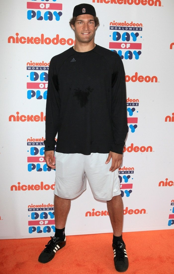 American professional basketball player Brook Lopez wears a size 20 shoe and stands at 7 ft 0 in (2.13 m)