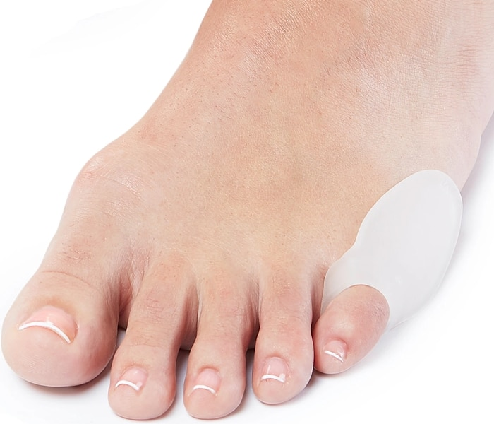 The NatraCure Gel Pinky Toe Bunion Guard provides protection from friction and pressure related to pinky/small toe bunions