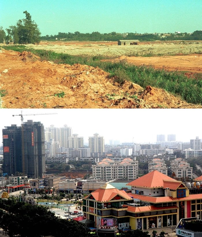 This combo photo shows the financial trade district in Haikou of southernmost China's Hainan Province on March 14, 2008 (bottom) and the same location nearly two decades ago in January 1990. Founded in April of 1988, Hainan special economic zone (SEZ) is one of the five SEZs of China. Over the past two decades, Hainan's economic and social development has made remarkable progress. The appearance of cities and villages has undergone profound changes