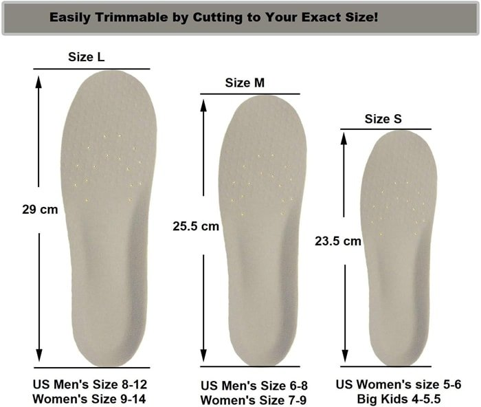 Please follow the sizing instruction for the best fit and customized cushioning