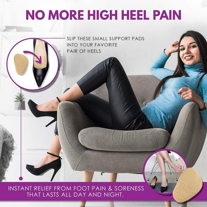 Slip these support pads into your pair of high heels and experience instant relief from foot pain and soreness that lasts all day and night