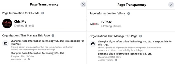Chic Me and IVRose are both owned by Shanghai Jigao Information Technology Co., Ltd.