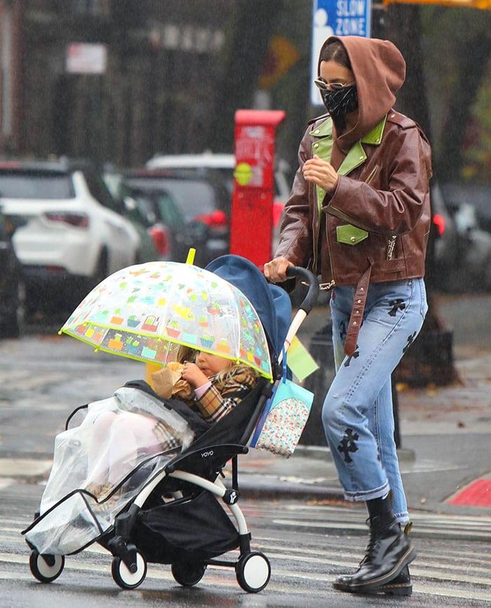 Irina Shayk and daughter Lea De Seine on a rainy morning stroll in New York City on November 14, 2020