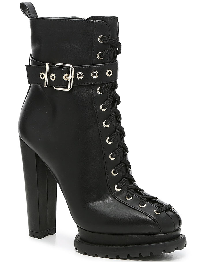 The Jahliah booties feature full-length lacing down to the toe and a wrapped moto strap