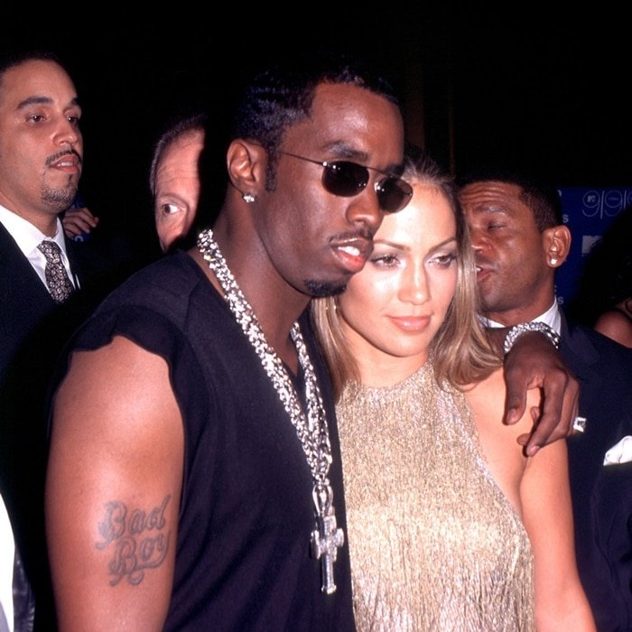 "Jennifer Lopez and Sean ""Puffy"" Combs during the 1999 MTV Video Music Awards"