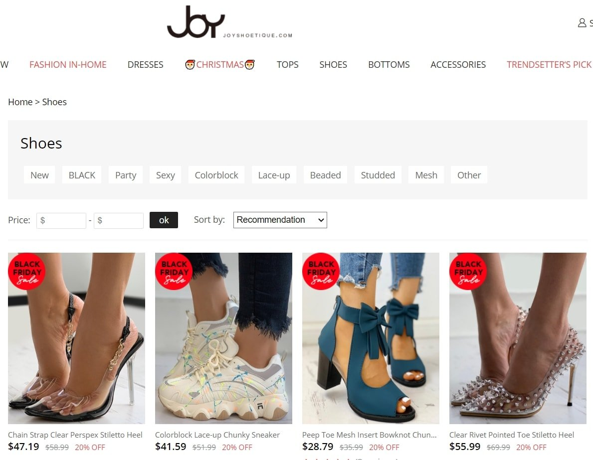 Joyshoetique is another website operated by the company behind IVRose and Chic Me