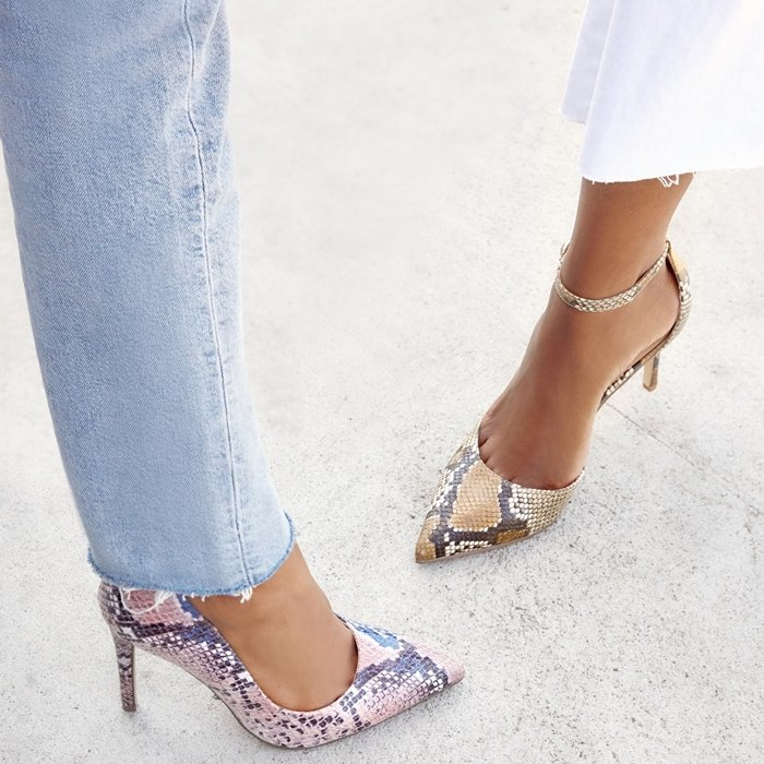 Sexy pointy-toe snake print pumps from JustFab