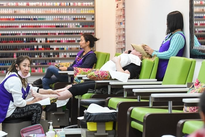 Kathy Hilton gets a mani-pedi at a nail salon in Beverly Hills