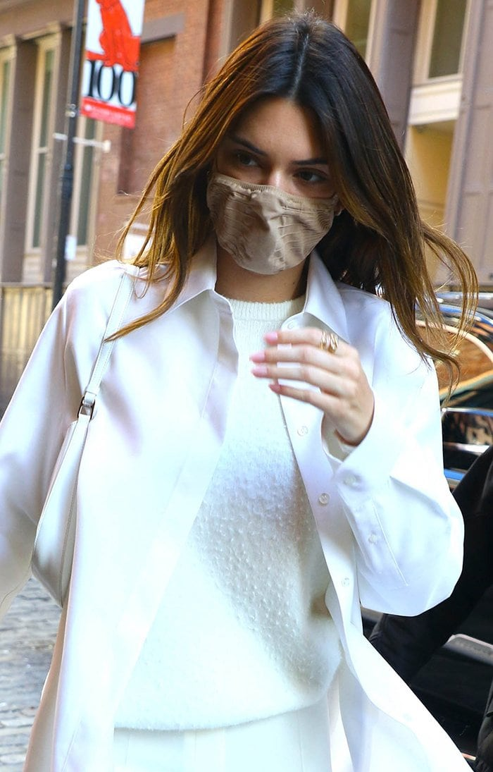 Kendall Jenner stays safe with nude Skims face mask