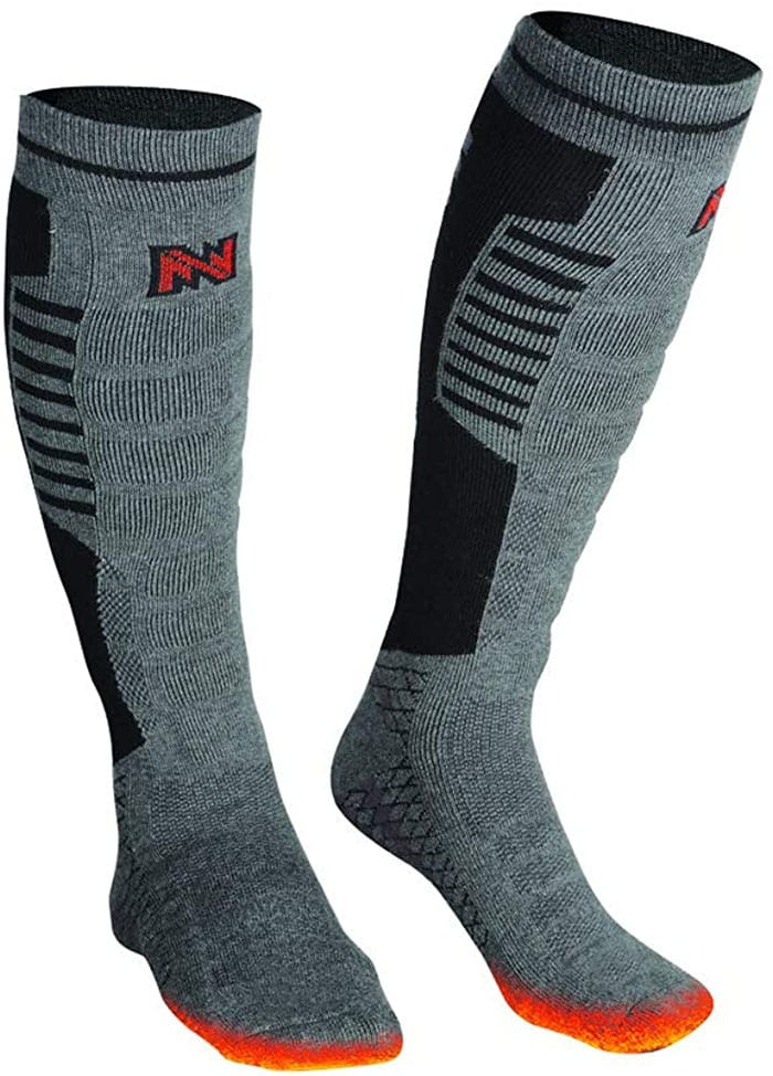 These electric heated socks are designed in the USA by Fieldsheer Apparel Technologies