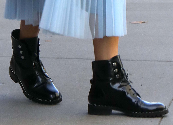 Olivia Palermo slips into a pair of Dior Rebelle army combat boots