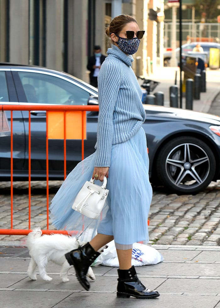 Olivia Palermo in a monochrome blue ribbed knit sweater and Max&Co. tulle midi skirt