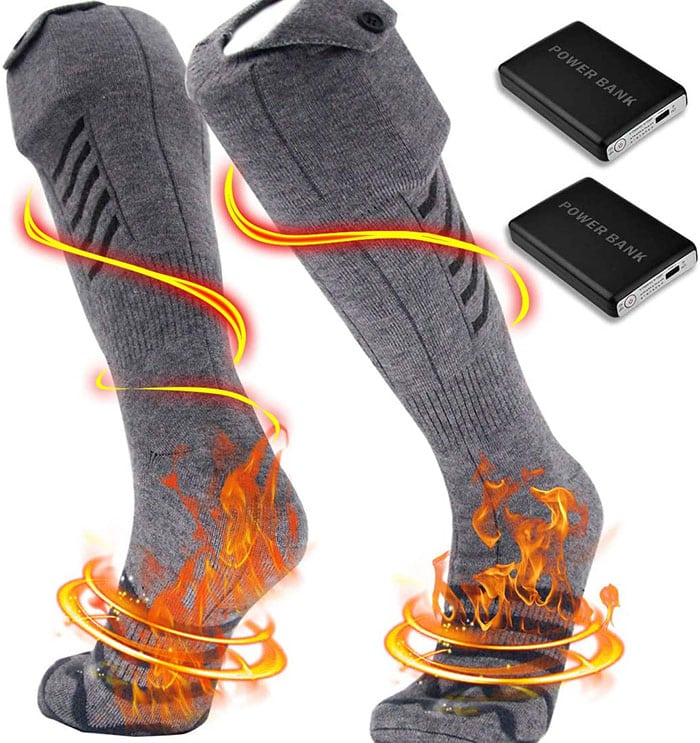 These electric socks are comfy like regular socks, warm on their own, and heat right up like magic when turned on