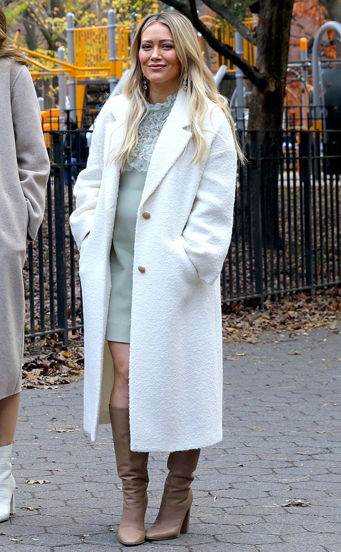 Hilary Duff nails autumn chic as she bundles up in a textured white Zara coat