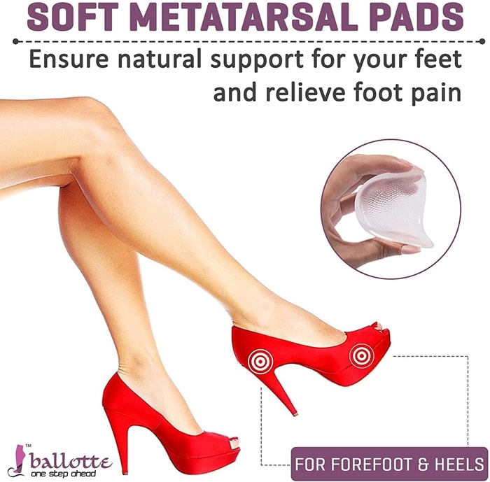A ball of foot cushion for women is made up of medical-grade PU gel, which ensures natural support for your feet and feels soft and comfortable