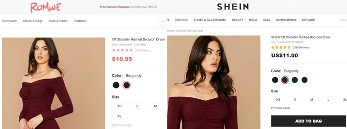 Owned by the same company Shein and Romwe sell identical products and use the same models