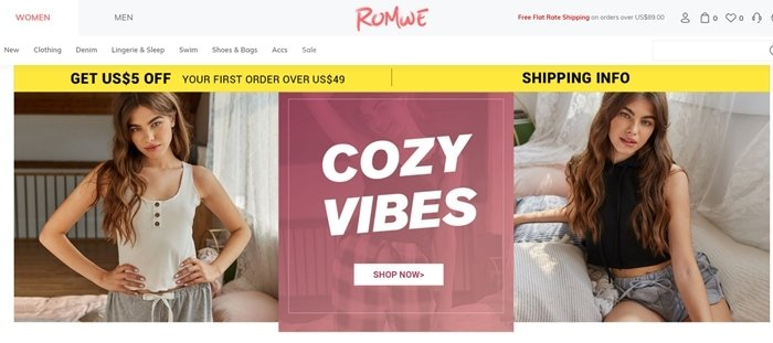 Romwe is a Chinese fast fashion retailer selling poor quality clothes