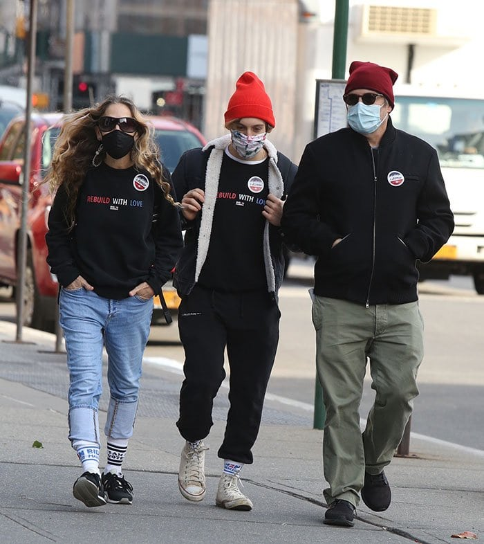 Sarah Jessica Parker and son James Broderick wear matching Jason Wu Rebuild with Love sweatshirts