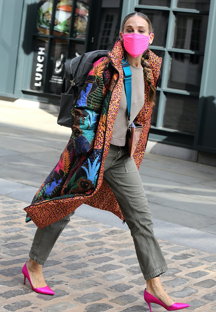 Sarah Jessica Parker brightens up fall in Farm Rio jungle animal printed puffer coat