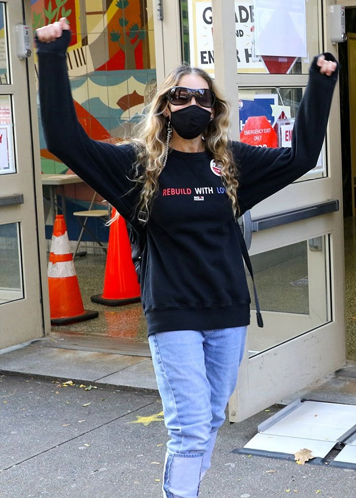 Sarah Jessica Parker appears to be in high spirits after voting