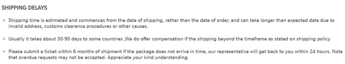 Make sure to carefully read the section on shipping delays