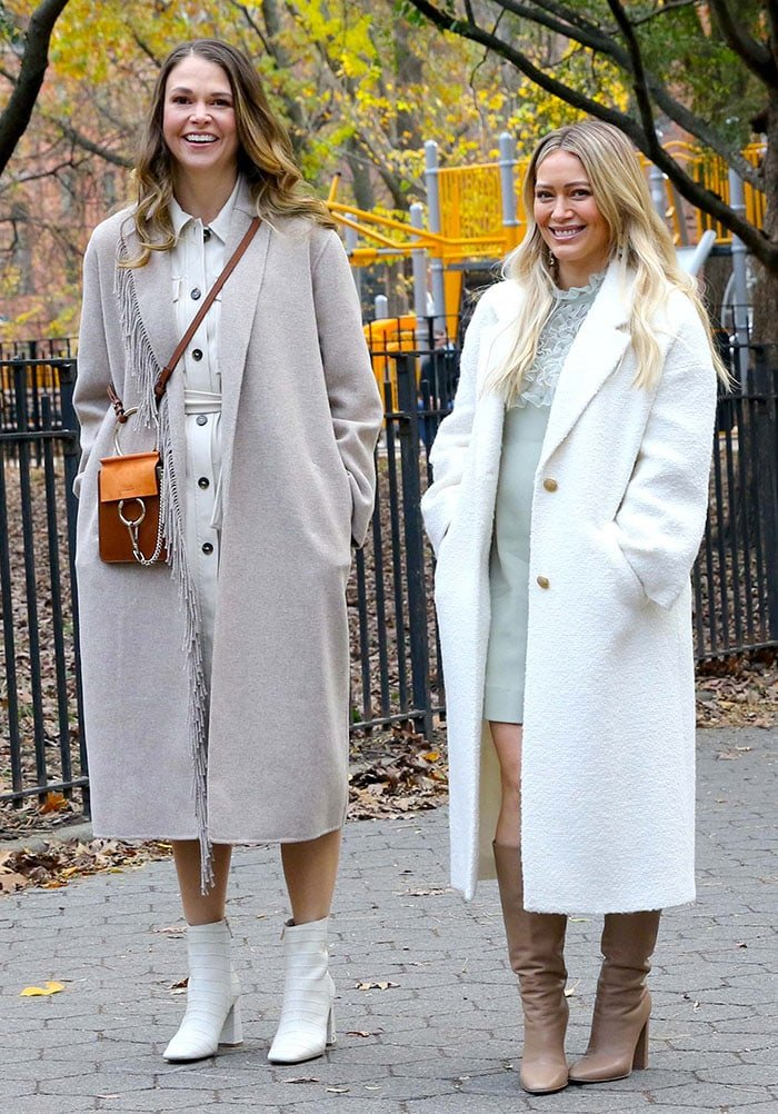 Sutton Foster and Hilary Duff on the set of Younger in New York City on November 17, 2020
