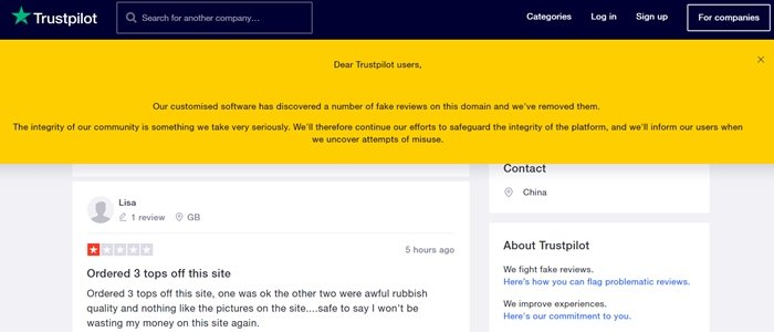 TrustPilot has discovered a number of fake Chic Me reviews and has removed them
