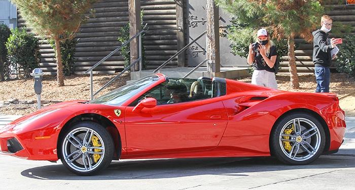 Vanessa Hudgens driving her new Ferrari 488 Spider around Los Angeles on November 18, 2020