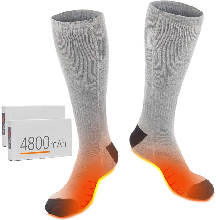 These comfortable heated socks are made of thick fabric cotton