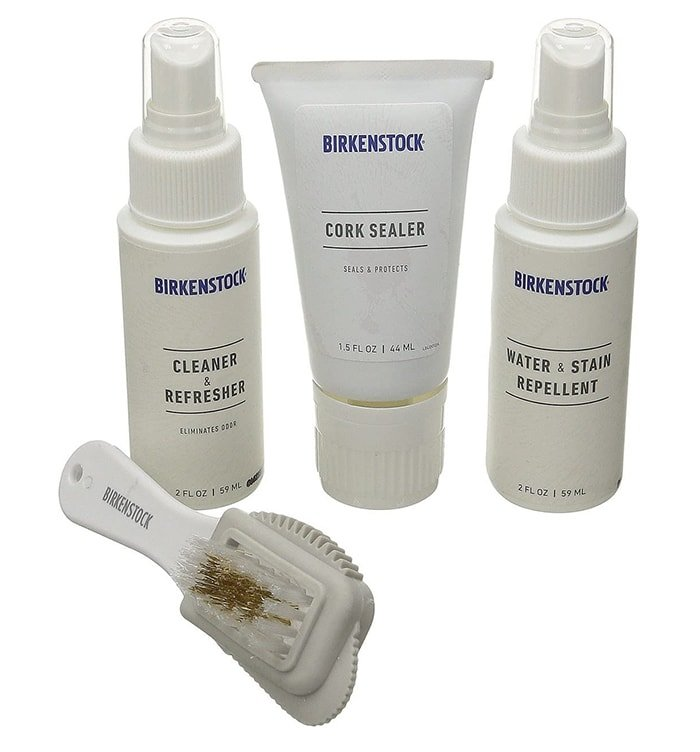 Keep your Birkenstock footwear looking as good as it feels with this convenient kit including water- and stain-repellent, cork sealer, brush and scuff eraser, and cleaner and refresher