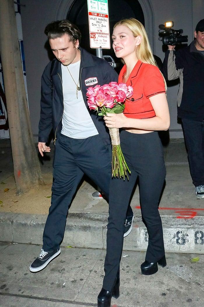 Brooklyn Beckham and fiancee Nicola Pelts leaving Craig's Restaurant on January 7, 2020