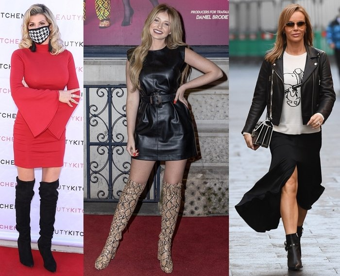 Real Housewives of Orange County star Alexis Bellino, Love Island contestant Amy Hart, and English actress Amanda Holden flaunt their skinny legs in boots